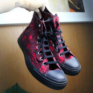 Converse All Stars Red and Black Skull Hightops